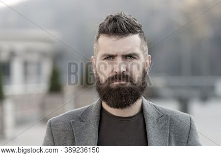 Hipster Appearance. Stylish Beard And Mustache Fall And Winter Season. Beard Fashion And Barber Conc