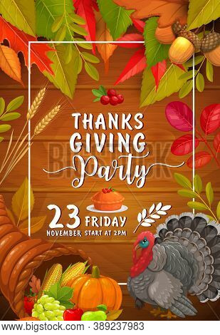 Thanks Giving Party Vector Flyer With Pumpkin, Pie With Cranberry And Turkey. Invitation For Thanksg