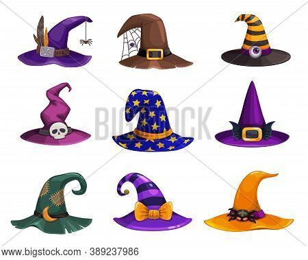 Witch Hats Vector Icons, Cartoon Wizard Headwear, Traditional Magician Caps Decorated With Spider We