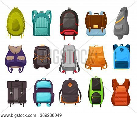 Boys School Bag And Backpack Vector Icons Set. Isolated Cartoon Schoolbag, Rucksack And Knapsack Of