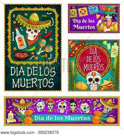 Dia De Los Muertos Skulls And Catrina With Sombreros And Marigold Flowers Vector Design. Mexican Day