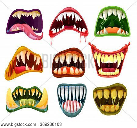 Monster Mouths And Teeth Cartoon Vector Set Of Halloween Scary Beasts. Horror Smiles, Crazy Laugh, T
