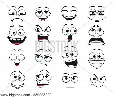 Face Expression Isolated Vector Icons, Funny Cartoon Emoji Satisfied, Toothy And Crazy, Angry, Laugh