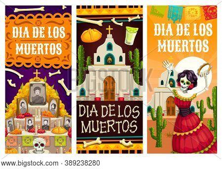 Day Of The Dead Or Dia De Los Muertos Vector Banners Of Mexican Fiesta Holiday. Catrina Skeleton, Su