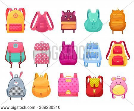 School Bag And Backpack For Girls Isolated Cartoon Icons Set. Vector Female Student Rucksacks And Kn
