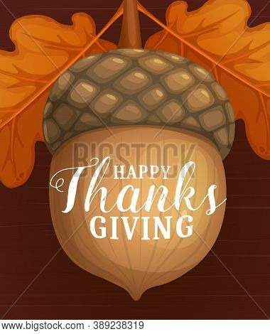 Happy Thanks Giving Day Vector Poster With Cartoon Acorn And Dry Autumn Leaves Of Oak. Fall Season T