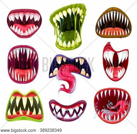 Halloween Monster Mouths, Teeth And Tongues Cartoon Vector Set. Scary Devil And Vampire Smiles, Craz