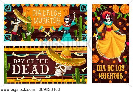 Day Of The Dead Vector Banners With Dia De Los Muertos Skeletons. Mexican Holiday Skulls, Sombrero H