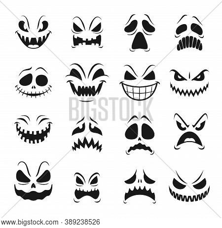 Monster Faces Vector Set Of Halloween Horror Holiday Emoticons. Scary Emojis Of Angry Zombie, Devil
