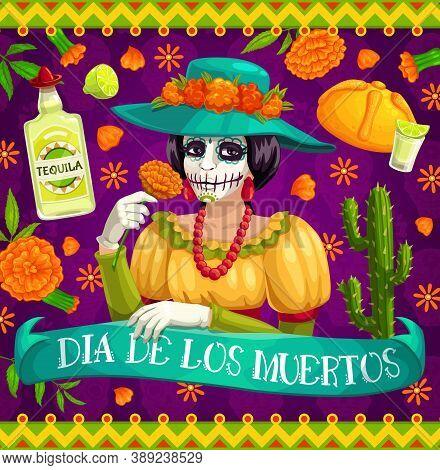 Mexican Day Of The Dead Catrina Skeleton With Flowers, Vector Dia De Los Muertos. Mexico Religion Ho