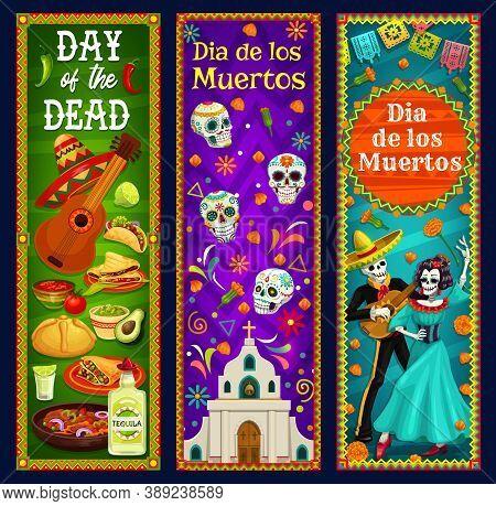 Day Of The Dead Sugar Skulls, Skeleton And Catrina Vector Banners. Mexican Dia De Los Muertos Sombre