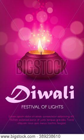 Indian Diya Lamp Vector Design Of Diwali Or Deepavali Hindu Religion Light Festival. Oil Lamp Or Can
