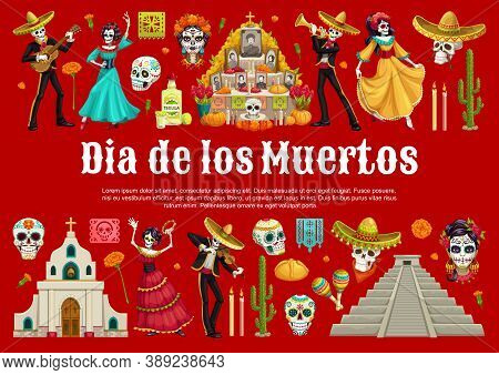 Day Of The Dead Sugar Skulls And Catrina With Mexican Dia De Los Muertos Altar Vector Banner. Dancin