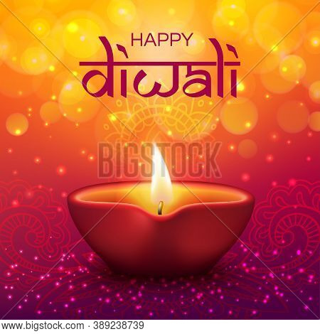 Diwali Festival Indian Holiday And Happy Deepavali, Vector Candle Lantern With Golden Bokeh Sparkles