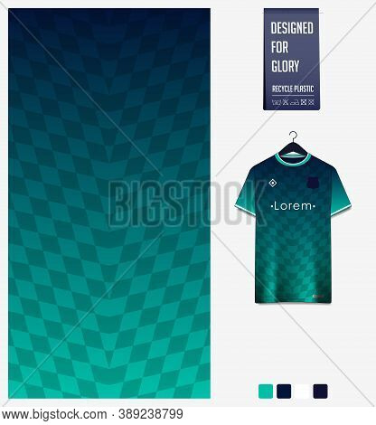 Fabric Pattern Design. Geometry Pattern On Green Background For Soccer Jersey, Football Kit, Bicycle