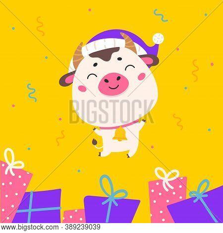 Christmas Design Template With Cute Ox.2021 Sale.christmas Banner.xmas Bull Jumps On A Festive Abstr