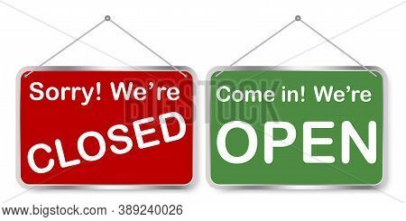 Open Door Sign. The Store Is Open Or Closed. Vintage Board On The Door. Red And Green Sign. Vector I