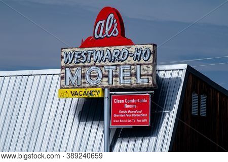 West Yellowstone, Montana - September 24, 2020: Retro Sign For Als Westward Ho Motel In The Tourist