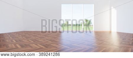 3d Render Of Wood Floor Or Wooden Floor In Perspective View For Background. Empty Room Or House Inte