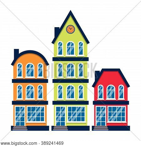 Three Cartoon Houses Colorful Architecture Amsterdam. Closeup Graphic Icon Townhouse, European Style