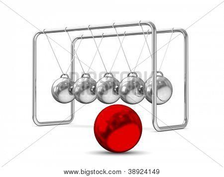 Balancing balls on white background. Isolated 3D image