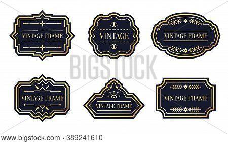 Black Labels Retro With Gold Frame Vintage Set. Different Shape Empty Border Tag Menu Sale Price Wit