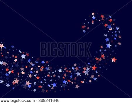 American Patriot Day Stars Background. Holiday Confetti In Us Flag Colors For President Day. Banner