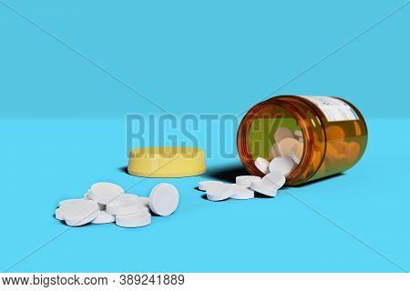 White Pills Spilling Out Of Pill Bottle Isolated On Blue Background. 3d Illustration.