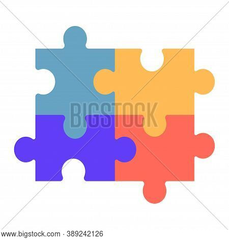 Autism Symbol, Logo Or Icon In Puzzle Shape, Colorful Isolated On White Background. Autism Awareness