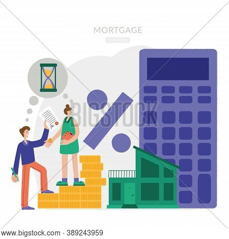 A Man And A Woman Are Choosing A House For A Mortgage. A Young Couple Chooses A Home. House Loan, Re