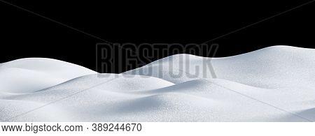 Isolated Snow Hills Landscape. Winter Snowdrift Background. 3d Render Image.