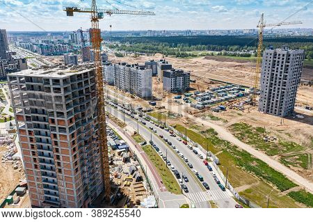 Construction Of A New Residential Area Of High-rise Apartment Buildings In Suburb District. Panorami
