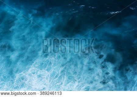 Summer Tropical Beach White Sand Blue Sea Summertime On Sunny Day. Sea Coast Beach Scenery Foamy Wav