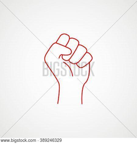 Linear Icon Of The Fist Of Rebellion. Minimalist Communist Emblem. Vector Illustration