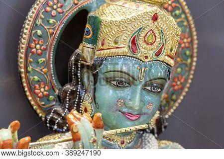Detail Of The Statue Shiva, Hindu Idol On The Temple In Rishikesh, India, Closeup