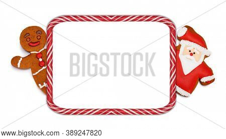 Candy cane stripes Christmas frame with Santa Claus and gingerbread cookie man isolated on white background