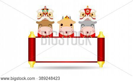 Happy Chinese New Year 2021 Of The Ox Zodiac Poster Design With Ox, Firecracker And Lion Dance With