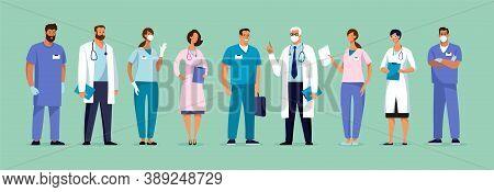 Set Of Male And Female Characters Of Doctors. Surgeons, Doctors, Nurses. Conceptual Illustration, Ho