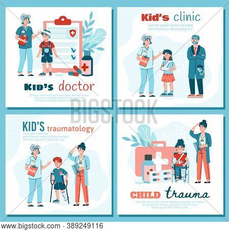 Web Banners Or Posters Set For Children Traumatology Clinic And Kids Doctor, Flat Cartoon Vector Ill