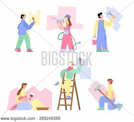 Working House Painters Cartoon Characters Set, Flat Vector Illustration Isolated On White Background
