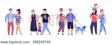Cartoon Family Walking - Isolated Set Of Happy People With Children On A Relaxing Walk. Young Famili