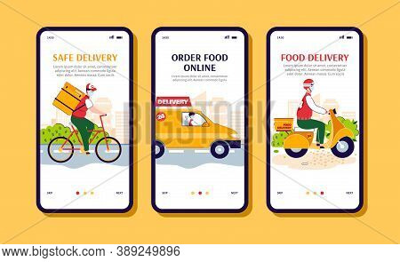 Online Food Order And Safe Delivery Mobile App Banner Set With Cartoon Courier Men In Medical Masks