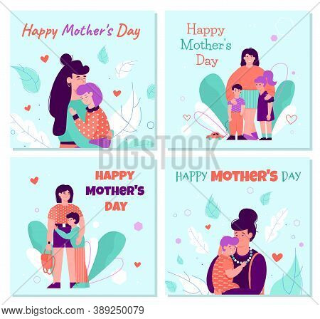 Happy Mothers Day Cards Set With Mum Hugging Children, Cartoon Vector Illustration On Blue Backgroun