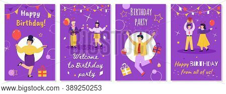 Happy Birthday Message Greeting Cards Set With Friends Celebrate Birthday, Sketch Cartoon Vector Ill