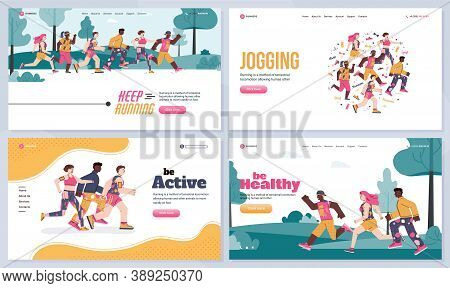 Web Banner Templates Set With People Running And Jogging Outdoor, Flat Vector Illustration. Website