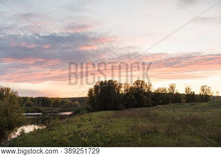 Sunset In The Forest. The Sun Is Going Down. Autumn Forest. Red Sky. Dusk. Sun Rays. Sunset On The H