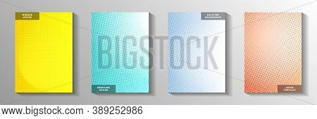 Creative Point Screen Tone Gradation Cover Page Templates Vector Set. Industrial Catalog Faded Scree