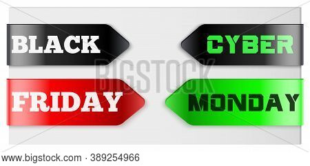 Black Friday And Cyber Monsday Tag Ribbon. Label And Sticker For Shop Goods. Realistic Modern Style.