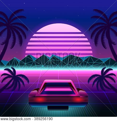 80s Retro Sci-fi Background With Supercar. Vector Retro Futuristic Synth Retro Wave Illustration In