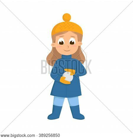 Cute Girl In Warm Hat And Knitted Mittens Playing Snowball Fight Vector Illustration